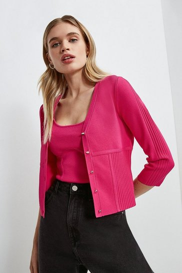 Pink Long Sleeve Rib Knitted Cardigan