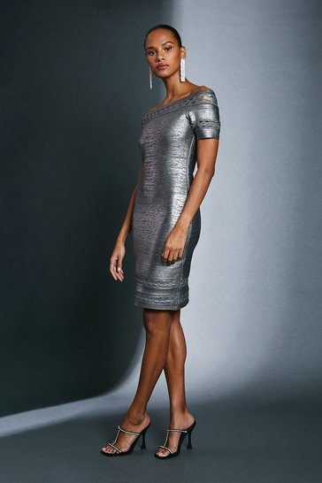 Gun metal Metallic Bardot Bandage Dress