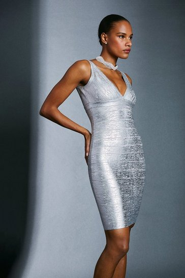 Silver Metallic Bandage Mini Dress