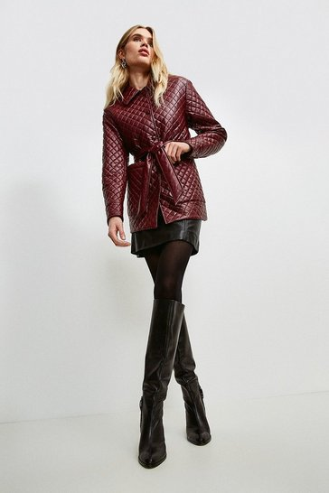Merlot Faux Leather Quilted Jacket
