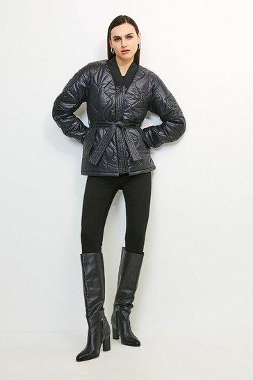 Black V Neck Belted Quilted Jacket
