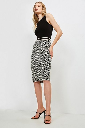 Black Graphic Jacqaurd Knit Skirt