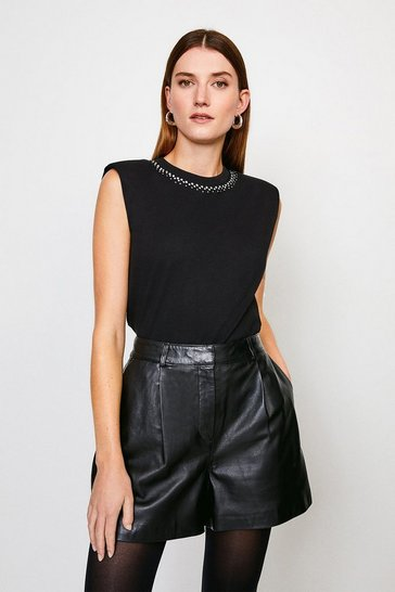 Black Jersey Shoulder Pad Hotfix Neck Tee