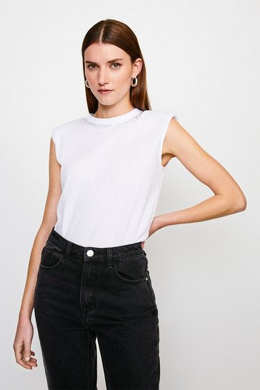 White Jersey Shoulder Pad Hotfix Neck Tee