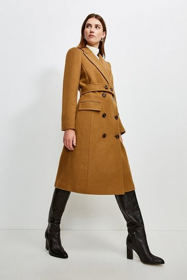 Camel Wool Rich Button Belted Double Breasted  Coat