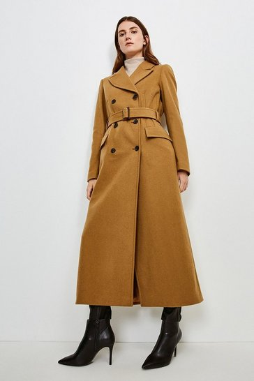 Camel  Wool Rich Buckle Belted Double Breasted Coat