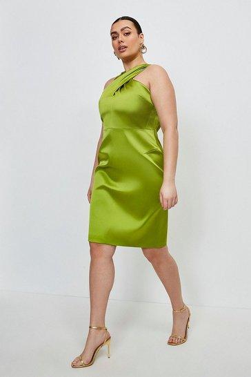 Chartreuse Curve Italian Satin Halterneck Dress