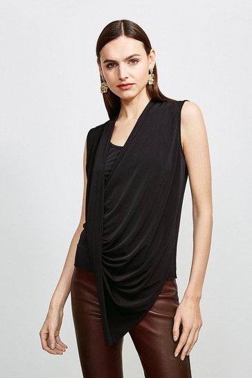 Black Drape Front Wrap Jersey Top
