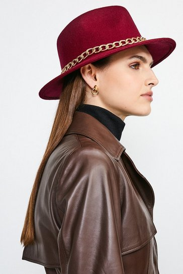 Fig Chain Trim Wool Fedora