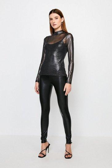 Black Faux Leather Jersey Leggings