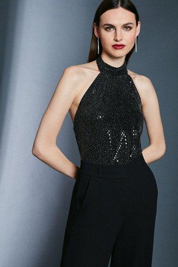 Black Sequin Halter Jersey Top