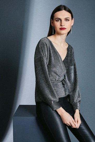 Silver Glitter Off Shoulder Jersey Top