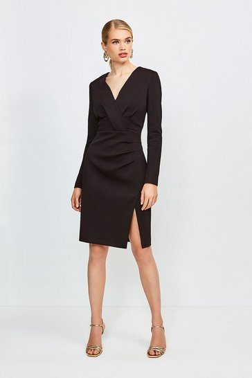 Black Italian Jersey Long Sleeve Tuck Detail Dress