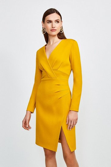 Mustard Italian Jersey Long Sleeve Tuck Detail Dress
