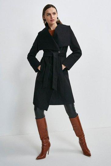 Black Italian Virgin Wool Multi Stitch Cuff Coat