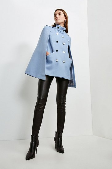 Pale blue Italian Wool Rich Military Cape