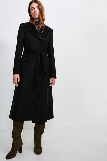 Black Italian Virgin Wool Luxe Coat