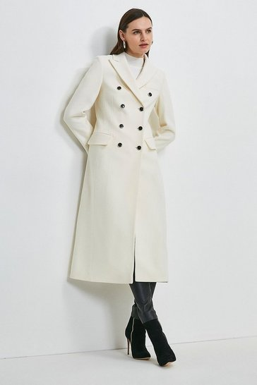 Ivory Italian Wool Rich Tailored Double Breasted Coat