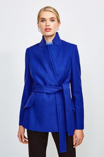 Cobalt Italian Wool Blend Notch Short Coat