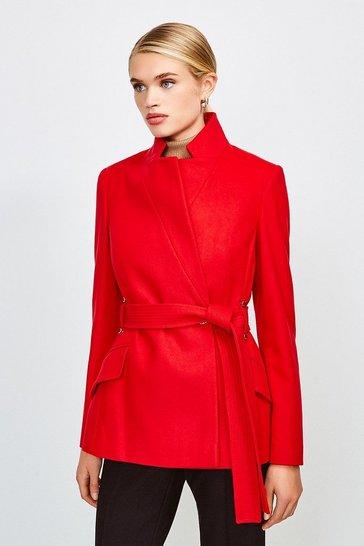 Red Italian Wool Blend Notch Short Coat