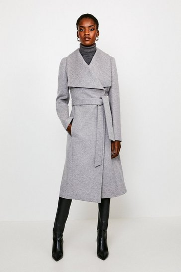 Grey Italian Wool Blend Shawl Collar Coat