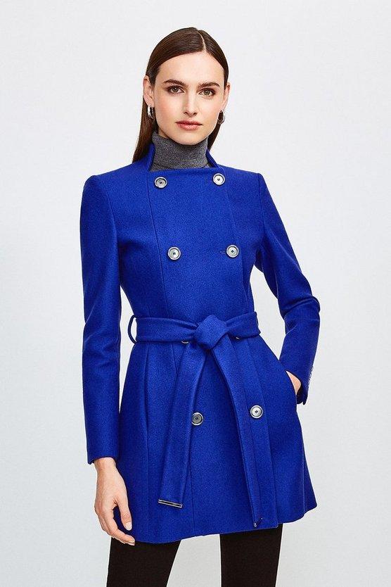 Blue Italian Wool Blend Military Belted Coat