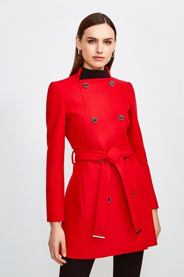Red Italian Wool Blend Military Belted Coat