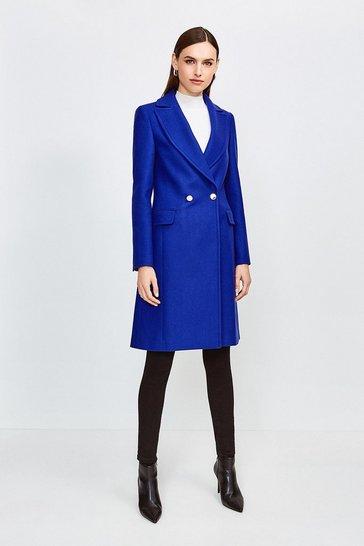 Blue Italian Wool Blend Double Breasted Coat