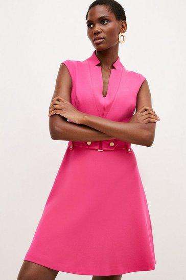 Pink Forever Cinch Waist Cap Sleeve A-Line Dress