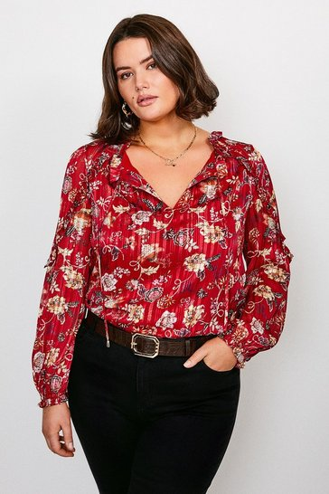 Burgundy Curve Paisley Print Ruffle Detail Top