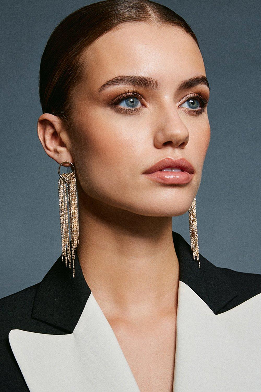 Karen Millen Waterfall Drop Earrings -, Gold