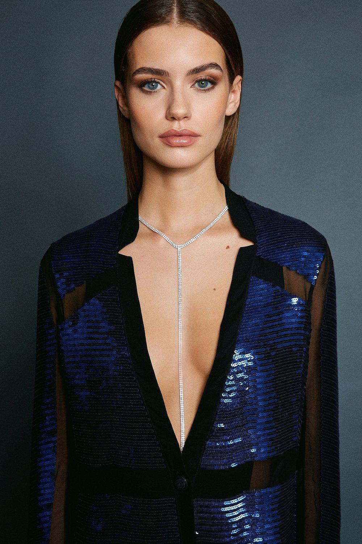 Karen Millen Plated Diamante Drop Necklace -, Silver