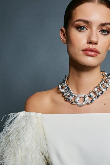 Silver Plated Chunky Statement Necklace
