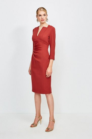 Rust Sleeved Envelope Neck Dress