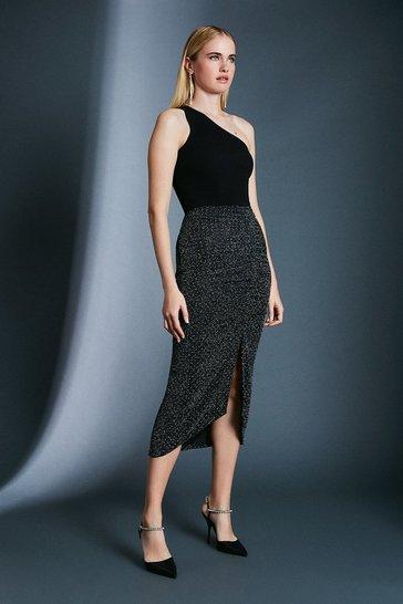 Black Stud Glitter Rouched Midi Jersey Skirt