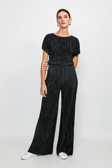 Black Lounge Plisse Wide Leg Trousers