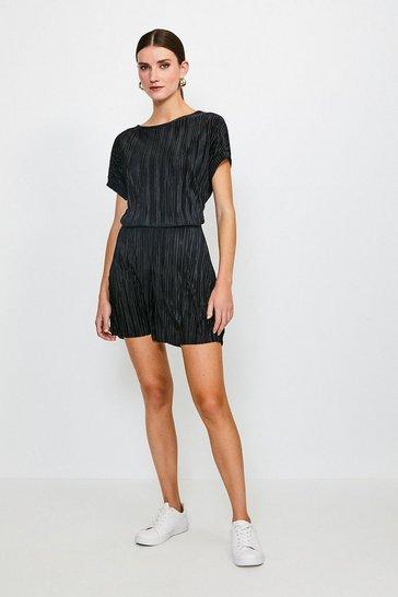 Black Lounge Plisse Shorts