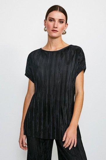 Black Lounge Plisse Batwing T-Shirt