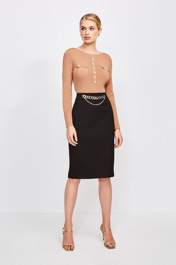 Black Structured Crepe Snaffle Pencil Skirt
