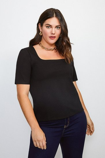 Black Curve Ponte Square Neck Short Sleeve Top