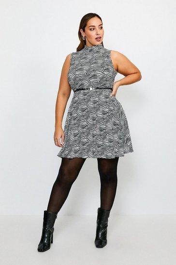 Zebra Curve Funnel Neck Printed Jersey Dress