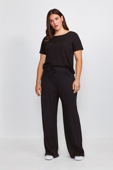Black Curve Lounge Jersey Viscose Wide Leg Trousers