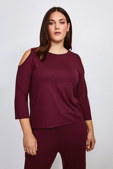 Aubergine Curve Lounge Cold Shoulder Viscose Jersey Top