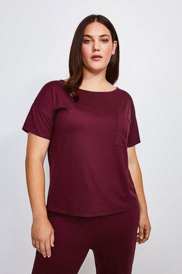 Aubergine Curve Lounge Viscose Jersey T Shirt
