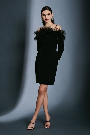 Black Long Sleeve Feather Bardot Dress