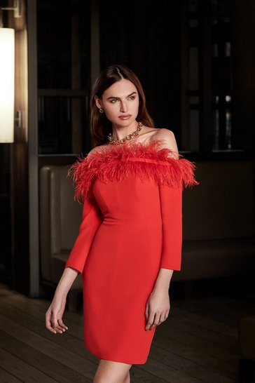 Red Long Sleeve Feather Bardot Dress