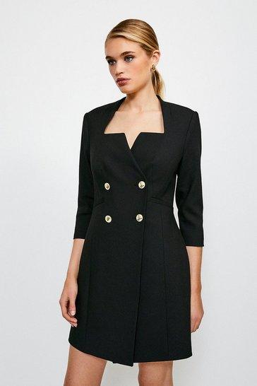 Black Military DB Long Sleeve Dress