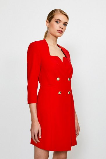 Red Military DB Long Sleeve Dress