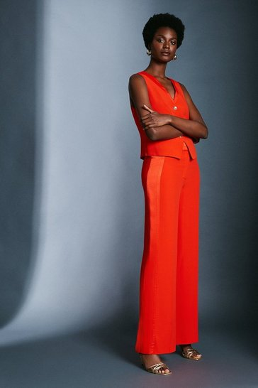 Red Satin Back Crepe Wide Leg Trousers