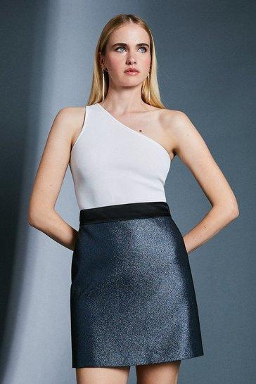 Blue Jacquard Metallic A Line Skirt